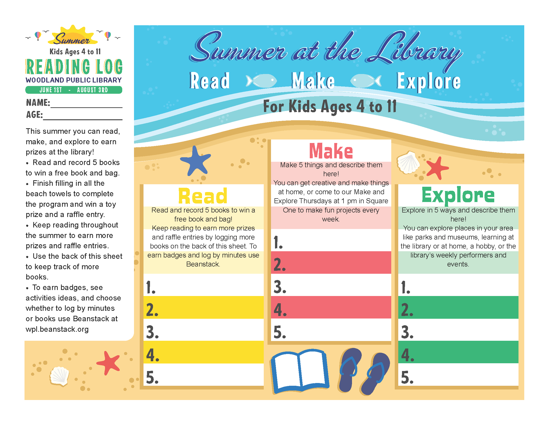 Woodland Summer Library Reading Log - Kids