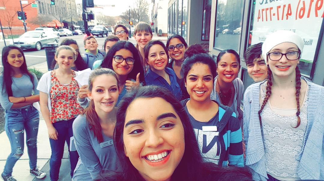 Teen Advisory Board Selfie on a Sidewalk