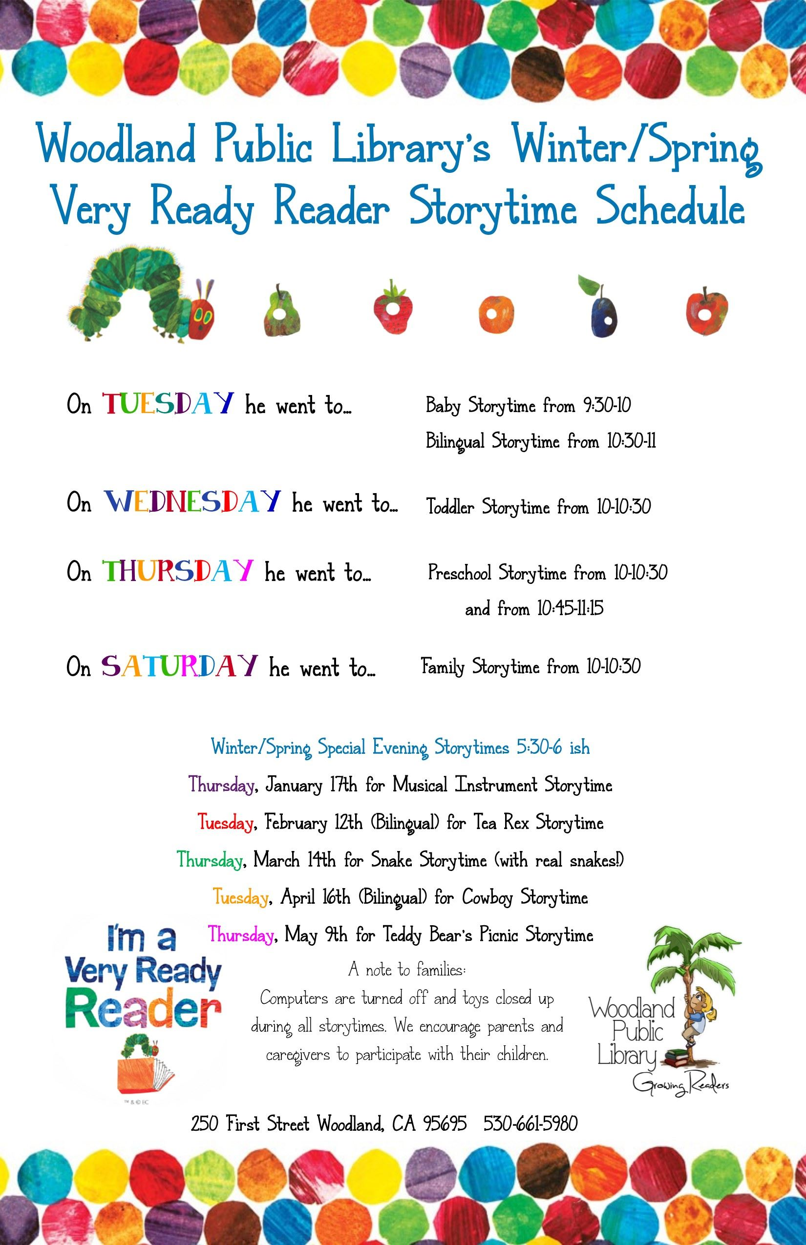 Very Ready Storytimes Winter Spring 2019 Flyer